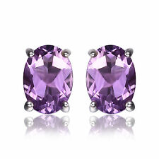 7mm 1.4ct Genuine Amethyst Oval and Solid Sterling Silver Stud Fashion Earrings