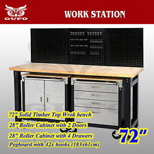 "GUFO 72"" WORK STATION GARAGE STORAGE CABINET TOOL BOX TIMBER BENCH PEG BOARD"