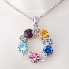 SWAROVSKI CRYSTAL Multi Coloured  Pendant Platinum Plated Necklace Gift for Her