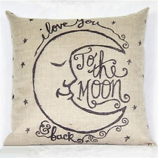 Moon Cotton linen Throw Pillow Cases Home Decor Cushion Cover Square Pillow BDAU