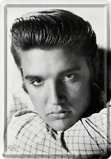 Retro Tin Metal Postcard 'ELVIS The King' Mini Sign 10 x 14cm B/W Portrait Print