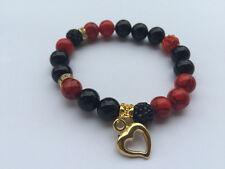 Damenarmband Armband Edelsteine handgefertigt Onyx & Türkis in rot