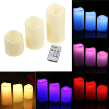 Set of 3 Remote &Timer Battery Powered Wax Candle LED Light Flameless Flickering