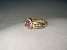 Beautiful Estate 14K 2-Tone Two-Tone Gold Ruby Diamond Floral Ring Band