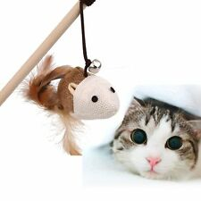 Feather Dangle Play Training Faux Mouse Elastic Rope Cat Bell Toys