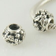 925 Solid Sterling Silver Christmas Holly Leaves Charm Bead
