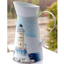 Shabby Chic WHITE Metal Nautical Jug Pitcher Table Decoration Vase Flower Pot