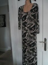 """BLACK & TAUPE """"RIVER ISLAND"""" EXTRA LONG (60"""") JERSEY MAXI DRESS. NEW SIZE 16"""