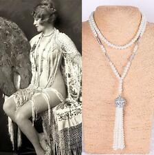 Long Pearl Necklace Great Gatsby Vintage inspired 1920s Mod Deco Downton Abbey