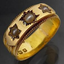 Vintage 1948 Retro 18ct Solid Yellow GOLD & SEED PEARL RING / BAND Estate Sz N