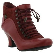 Hush Puppies - Ladies Vivianna Leather Suede Zip Boots - Red - Size 8 - New