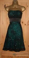 Jane Norman black turquoise strapless sparkly evening party prom dress sz 14 16