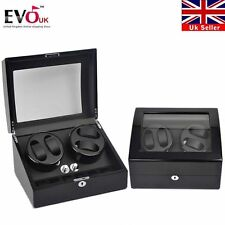 Luxury Black Automatic Watch Winder Display Box Storage Case Organizer 4+6 Gift