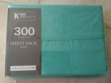"""KING """"GREEN"""" 300 THREAD COUNT COTTON SATEEN SHEET PACK. BRIGHT FASHION COLOURS"""
