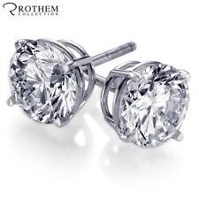 Real 0.5 Half carat White Gold Diamond Stud Earrings Pierced Ears Screw Back 1/2