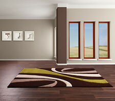 NEW HAND CARVED MODERN CHOCOLATE BROWN CREAM LIME GREEN RUG 120x165