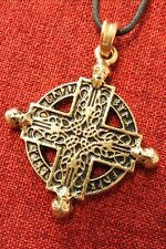 Beserker Cross Northern Man Norse Warrior Viking Gold Plated Pendant Necklace