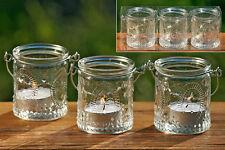 TEELICHTHALTER  3er SET - WINDLICHT COUNTRY - GLAS METALL-  KLAR - 7 cm