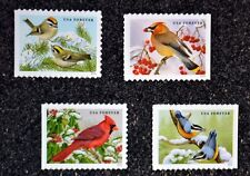 2016USA Forever - Songbirds in the Snow - Set of 4 Singles  Mint birds cardinal