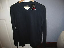 MENS V NECK WITH WHITE TRIM JUMPER FROM BURTON'S BNWT SIZE SMALL COLOUR NAVY