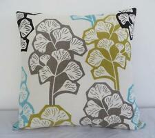 Colourful Abstract Leaves Linen Look Cushion Cover 45cmn
