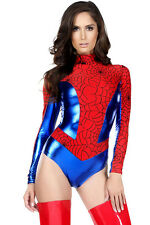 SEXY SPIDER WOMAN GIRL COSTUME SUPERHERO HALLOWEEN COSPLAY BODYSUIT OUTFIT 8/10