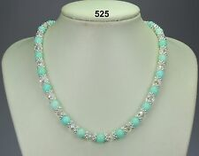 Beautiful aquamarine 8mm bead necklace, clear crystals, silver snowflake spacers