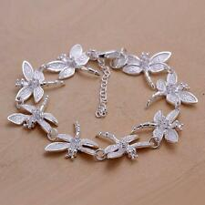 Women 925 Sterling Silver Classy Design Dragonfly Inlaid Stone Chain Bracelet