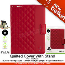 iPad Air Quilted Cover Case With Stand Auto On/Off Rose Belkin F7N073b2C02