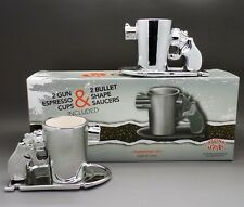 """GUN SHAPE ESPRESSO COFFEE CUPS WITH BULLET SHAPE SAUCER"" Set Of 2 ~ Brand New"