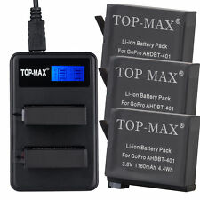 TOP-MAX Battery(1160mAh)x 3 with Dual USB Charger for GoPro HERO4 AHDBT-401