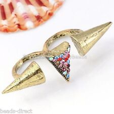 1p Colorful Crystal Bronze Puncture Spike Rivet Two Finger Ring Punk Gothic Rock