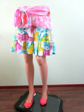 Womens Vtg 90s Summer Ruffle Flare Tiered Chiffon Belted Knee Skirt size 14 J12