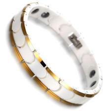 """Tungsten Magnetic Hematite Mens Bracelet, white &gold 8"""" B1424"""