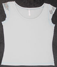 Pale Blue Cotton T-shirt Top with Cap Sleeves, Casual, Size M