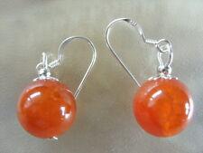 12 mm rote Achat Edelstein Ohrringe Earrings Feuerachat mit 925 Silber Ohrhaken