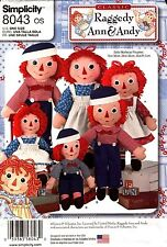 """Simplicity Pattern 8043 Dolls and Clothes Raggedy Ann & Andy 15"""", 26"""", 36""""  NEW"""
