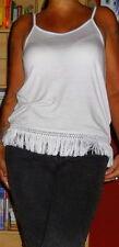 Schönes Damen-Sommer-T-Shirt mit Fransen Weiß Gr. 40 NEU