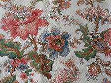 Vintage French Jacobean Indienne Floral Quilted Panel Fabric~upholstery pillow
