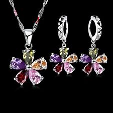 2 Piece 925 Silver Multi Coloured CZ Flower Set. Necklace and Drop Earrings