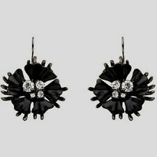Mimco Starlight Flower Drop Ear Earrings Jet Enamel & Crystal RRP $99.95 Black