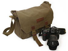 Courser Canvas Shoulder Bag Case For Canon Nikon DSLR Cameras, Lenses - Green