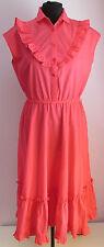 VTG 90s Ladies Unbranded Pink Polycotton Frilled Summer Dress Size 12
