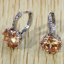 Simple Round Cut Citrine Crytsal Silver Women Zircon Stud Hoop Earrings Party