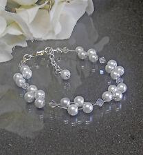 Funkelndes Perlen Armband weiß  irisierende Glas Biconen NEU