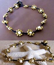 ANKLET BLACK CORD COTTON WHITE STONE BEADS FLOWER DESIGN WOMEN BOHO HIPPIE NEW