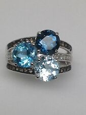 10K White Gold Sky Swiss and London Blue Topaz Ring with Smoky Topaz and Diamond