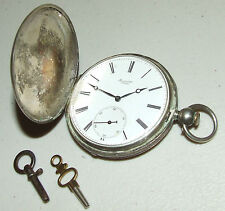 Antique Working 1800's Perret & Co. Victorian Full Hunter 15J Swiss Pocket Watch