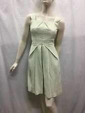 Cue Size 8 Green White Sleeveless Dress