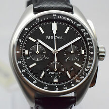 NEW BULOVA 96B251 MENS SPECIAL EDITION 262kHz MOON WATCH ON BLACK LEATHER/NYLON